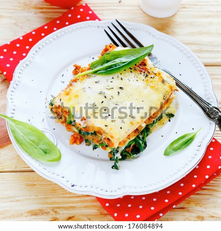 lasagna with spinach and mushroom stuffing, food - stock photo