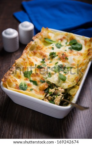 Lasagne with salmon and spinach  - stock photo