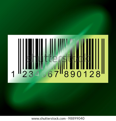 Laser Beam from Data Scanner Pass Through Barcode Label. Rasterized Version - stock photo