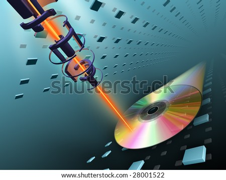 Laser beam writing data on a compact disc. Digital illustration. - stock photo