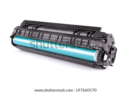 laser cartridge isolated on white background - stock photo