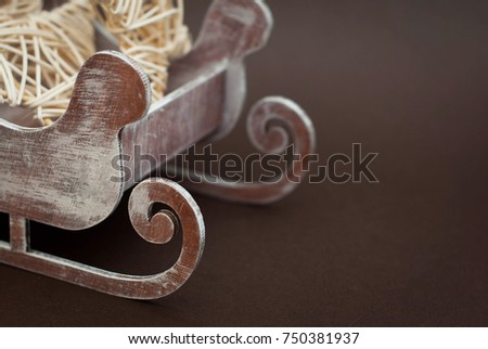 Laser Cut Wooden Sledge Close Up with