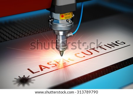 Laser cutting metal industry concept: macro view of industrial digital CNC - computer numerical control CO2 invisible laser beam cutter machine cutting metal sheet with lot of bright shiny sparkles - stock photo
