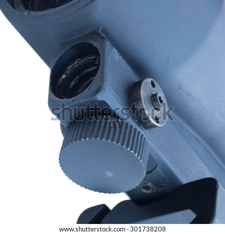 Laser housing that is underneath a rifle scope designed for close work - stock photo