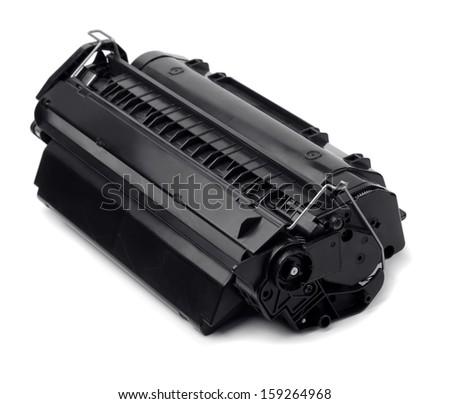 Laser printer cartridge isolated on white - stock photo