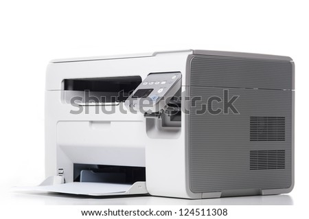 Laser printer isolated on white background. - stock photo