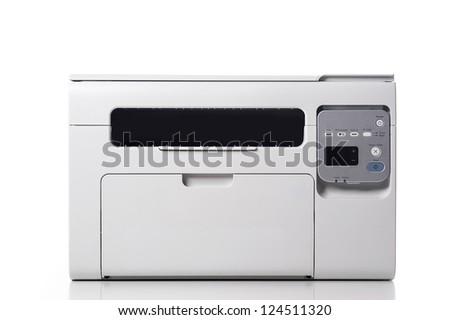 Laser printer isolated on white background. - stock photo