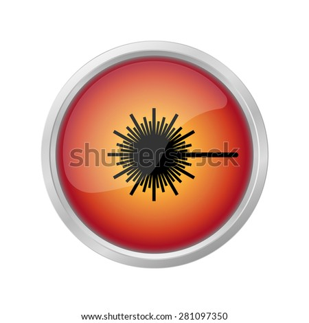laser radiation sign  on red button - stock photo