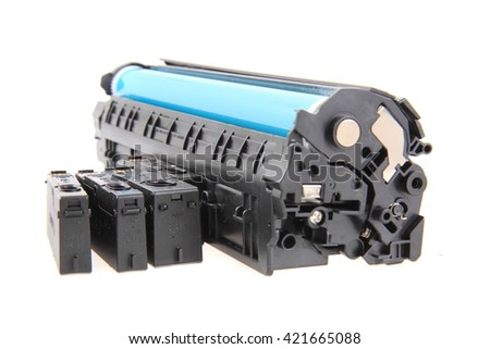 laser toner cartridge isolated on the white background - stock photo