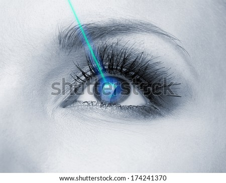 Laser vision correction. Woman's  eye. - stock photo