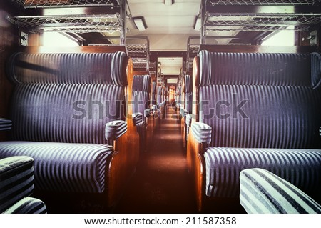 Last century rail car interior. Passenger carriage - stock photo