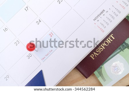 Last day of the month marked on the calendar and schedule prepare for travel  - stock photo