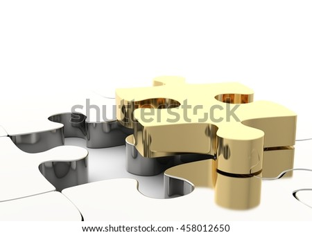 Last golden puzzle piece to complete a jigsaw. Concept of business solution, solving a problem. 3D illustration - stock photo