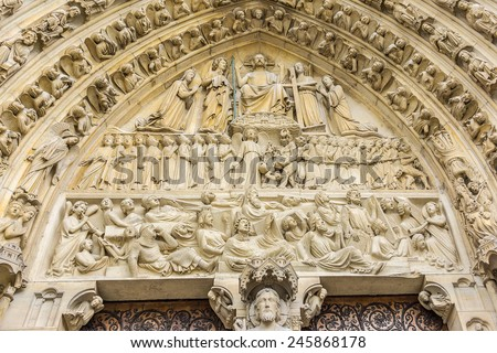 Last Judgement Portal at main entrance. West facade of cathedral Notre Dame de Paris. Notre Dame - most famous Gothic, Roman Catholic cathedral (1163 - 1345) on eastern half of Cite Island. France.