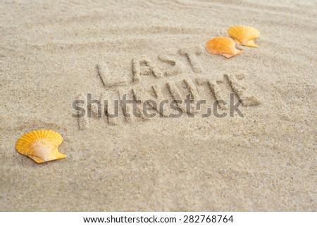 Last minute booking tropical destination with exotic shells - stock photo