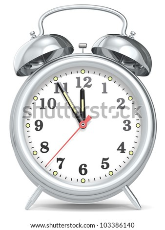 Last Minute. Classic alarm clock with hands at five to twelve. Metal. - stock photo