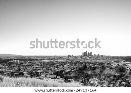 Last-minute scouting led to this fantastic viewpoint overlooking the metropolis of Los Angeles. Converted to black and white for a different effect. - stock photo