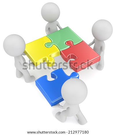 Last piece. The dude x 4 holding puzzle pieces. One walking. Red, green, blue and yellow. - stock photo
