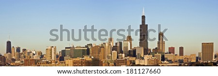Last rays of sun in Chicago - panorama. - stock photo