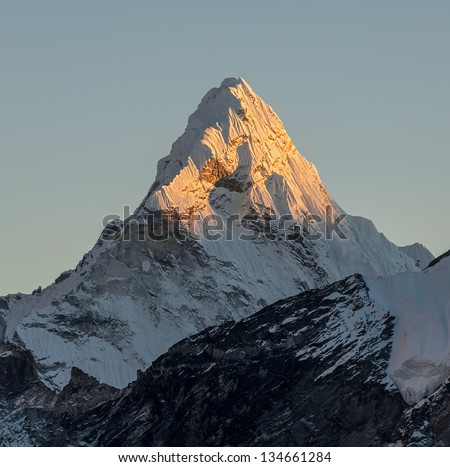 Last sun rays on the Ama Dablam (6814 m) at sunset (view from Kala Patthar (5600 m))- Everest region, Nepal, Himalayas
