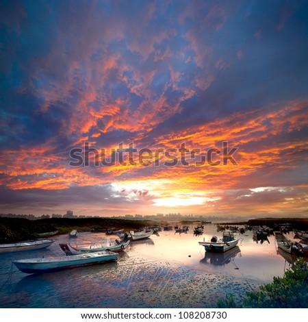 Last sunrise and fishing sub-dug with flash, the new Taipei, Taiwan - stock photo