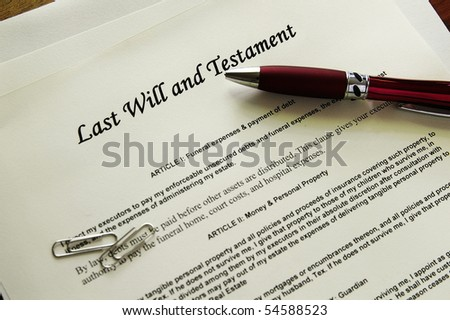 Last Will and Testament documents  with misc items - stock photo