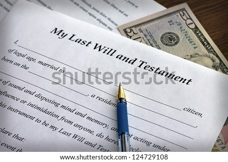 Last Will and Testament form with pen, close-up - stock photo