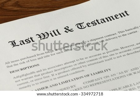 last will and testament on desk