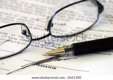 Last will signature - stock photo