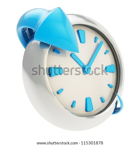 Lasting effect emblem icon: glossy blue arrow around the chrome metal clock emblem isolated on white background - stock photo