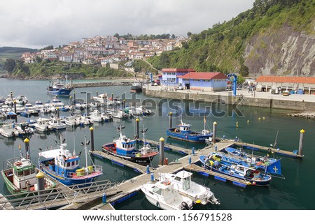 LASTRES, SPAIN - AUGUST 16: View of Lastres, one of the most beautiful villages of Cantabrian coast, on August 16, 2013, in Lastres, Spain.