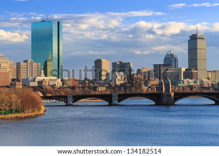 Late Afternoon Boston Back Bay Skyline - stock photo