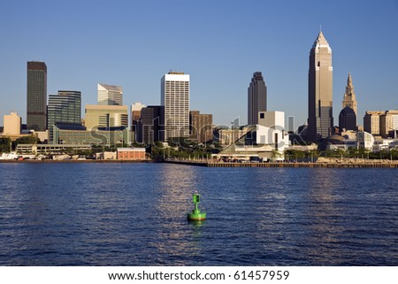 Late afternoon in downtown Cleveland, Ohio. - stock photo