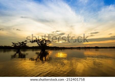 Late afternoon Laguna Grande, Cuyabeno national park in northen Ecuador - stock photo