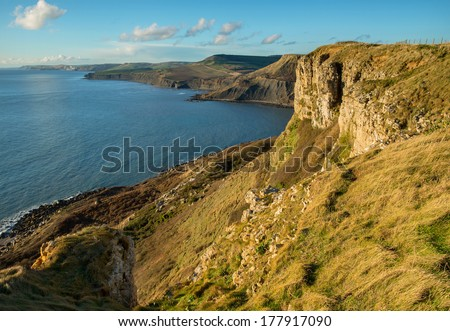 Late afternoon sun at Emmetts Hill, Dorset, UK and the fabulous view west along the Jurassic coastline towards Houns-tout Cliff, Swyre Head and Kimmeridge Bay