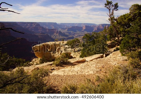 late afternoon view into the Colorado River gorge on the South Rim Trail,at the Grand Canyon National Park, Arizona