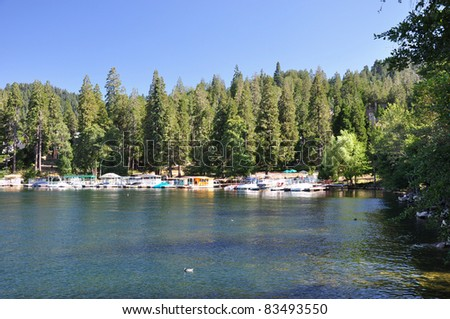 Late afternoon view of Lake Arrowhead. Located in the San Bernardino mountains in Southern California. - stock photo