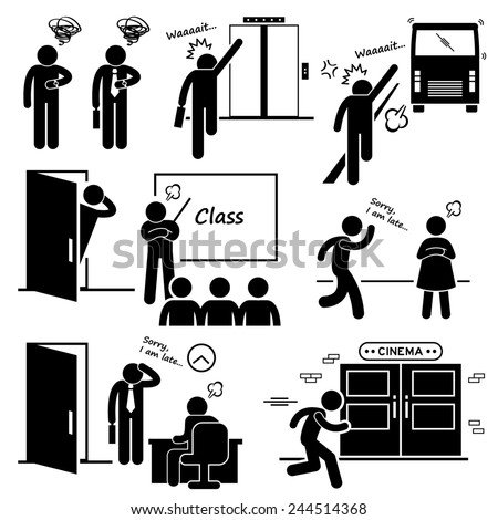 Late and Rushing for Elevator, Bus, Class, Date, Job Interview, and Movie Cinema Stick Figure Pictogram Icons - stock photo