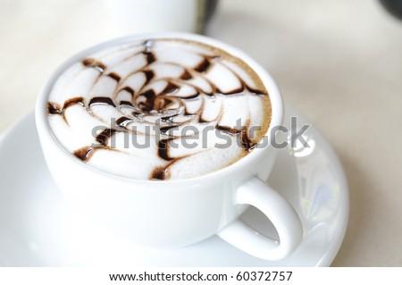 late coffee with chocolate - coffee with white chocolate - stock photo