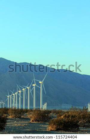 Late Evening in Palm Spring Wind Mills Valley, CA - stock photo