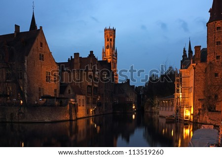 Late evening shot of Rozenhoedkaai in the old city Bruges in Belgium