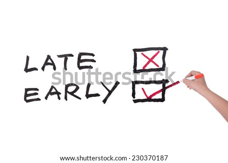 Late or early words written on white board