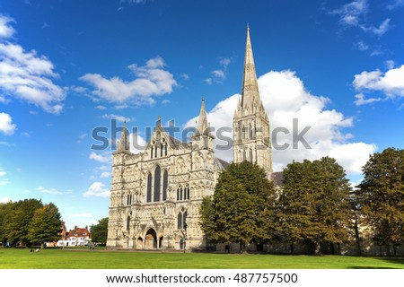 Late summer at Salisbury Cathedral and Cathedral Close, Wiltshire, UK.