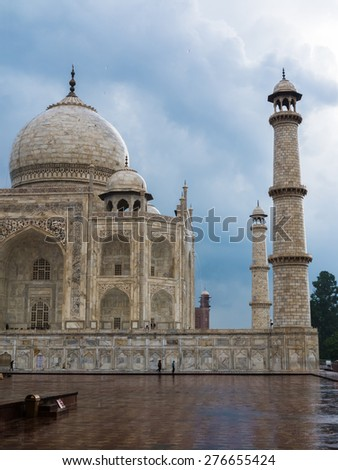 Lateral view of Taj Mahal during a summer storm, India  - stock photo