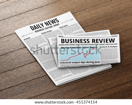 Latest issue. Morning newspapers on wooden floor or table. 3D illustration of tabloid. - stock photo