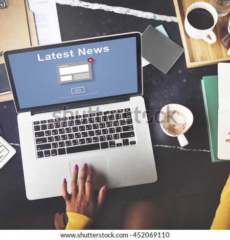 Latest News Announcement Broadcast Article Concept - stock photo