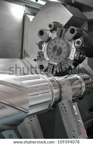 Lathe, CNC milling - stock photo