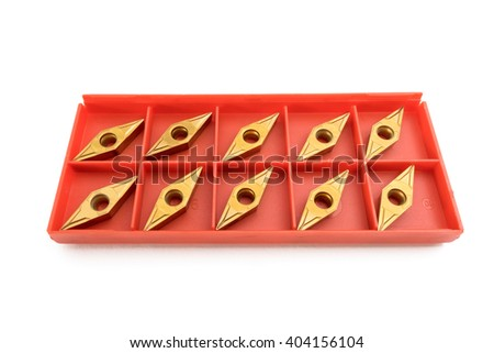 Lathe tool and cutting inserts for turning - stock photo
