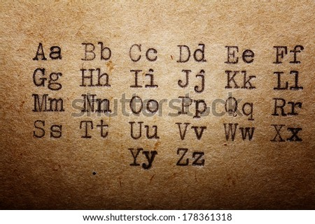 Latin alphabet, font printed on vintage typewriter - stock photo