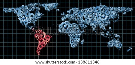 Latin America economy business concept with a world map made of gears and cogs highlighted in red as an idea of economic growth and financial success in countries as Brazil Argentina Chile - stock photo